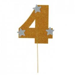 """Топпер для торта """"4"""", цвет золотой 1502903"""