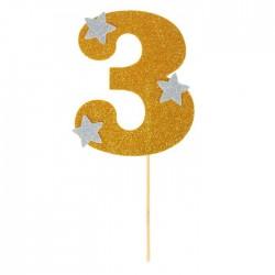 """Топпер для торта """"3"""", цвет золотой"""