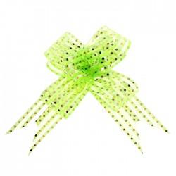 Бант-бабочка №3,2 органза золотой горох на зелёном 828167