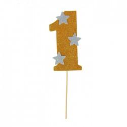 """Топпер для торта """"1"""", цвет золотой 1502900"""