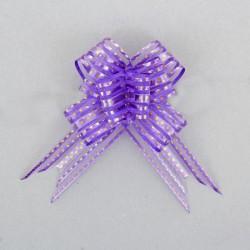 Бант-бабочка №3,2 органза золотой горох на фиолетовом