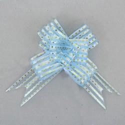 Бант-бабочка №3,2 органза золотой горох на голубом 828163