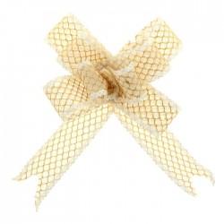 Бант-бабочка №2,3 органза паутинка с блёстками, бежевый 828003