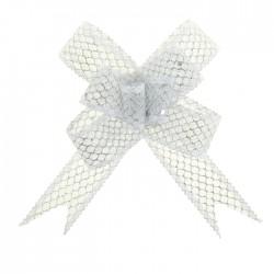 Бант-бабочка №2,3 органза паутинка с блёстками, белый