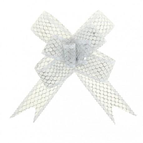 Бант-бабочка №2,3 органза паутинка с блёстками, белый 828002