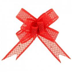 Бант-бабочка №2,3 органза паутинка с блёстками, красный