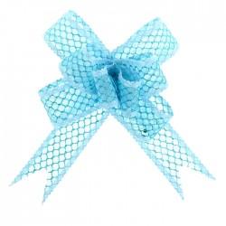 Бант-бабочка №2,3 органза паутинка с блёстками, голубой 828000