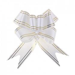 Бант-бабочка №5 золотая полоса, белый