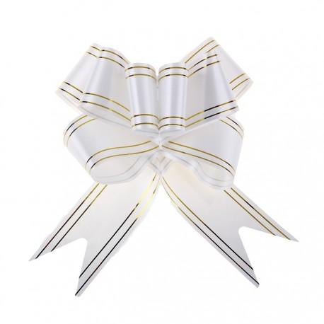 Бант-бабочка №5 золотая полоса, белый 817862