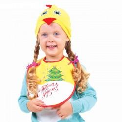 """Карнавальный комплект Цыпленка """"С новым годом""""шапка, нагрудник, 1,5-3 года"""