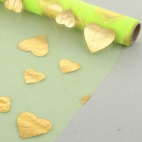 """Органза с золотым рисунком """"Парад сердец"""" светло-зелёная 48 см х 4,5 м"""