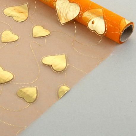 "Органза с золотым рисунком ""Парад сердец"" оранжевая 48 см х 4,5 м"