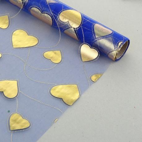 "Органза с золотым рисунком ""Парад сердец"" синяя 48 см х 4,5 м"