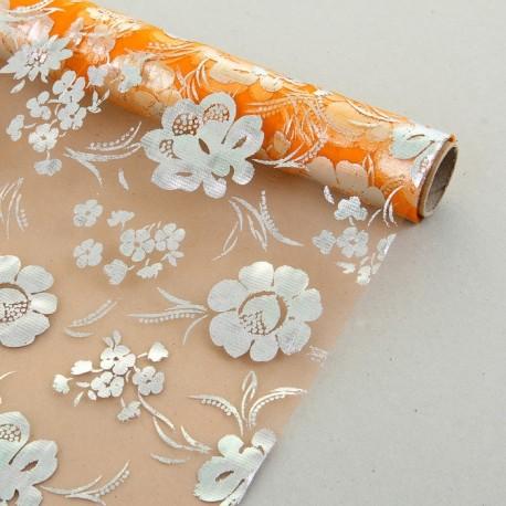 """Органза с серебряным рисунком """"Цветочная поляна"""" оранжевая 48 см х 4,5 м"""