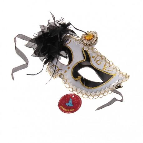 """Карнавальная маска """"Очаровашка"""" с черным цветком 305132"""