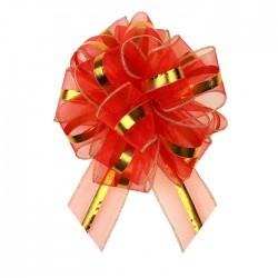 Бант-шар №6 органза золотая полоса, красный