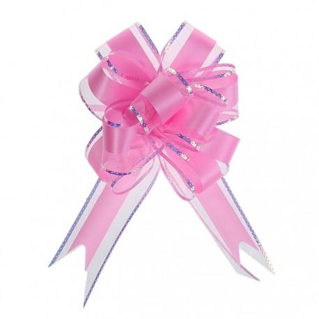Бант-шар №5 органза с полосой пластик, розовый