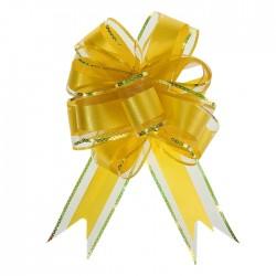 Бант-шар №5 органза с полосой пластик, жёлтый 1020440