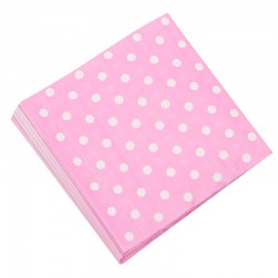 Салфетки Розовые точки, 32*32см, 20шт.