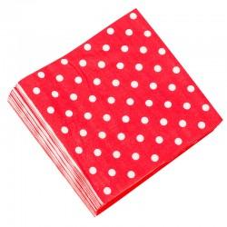 Салфетки Красные точки, 32*32см, 20шт