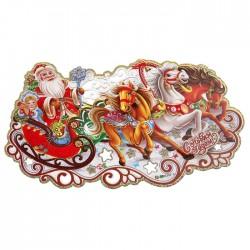 плакат дед мороз с снегурочкой на тройке лошадей 20*35 см