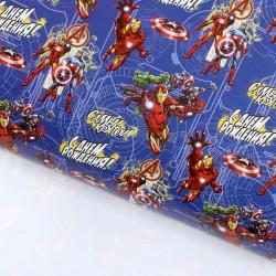 """Бумага упаковочная глянцевая""""Самый крутой"""", команда Мстителей,70 х100 см"""