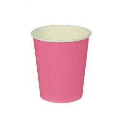 Стакан бумажный однотонный, розовый цвет (205 мл)