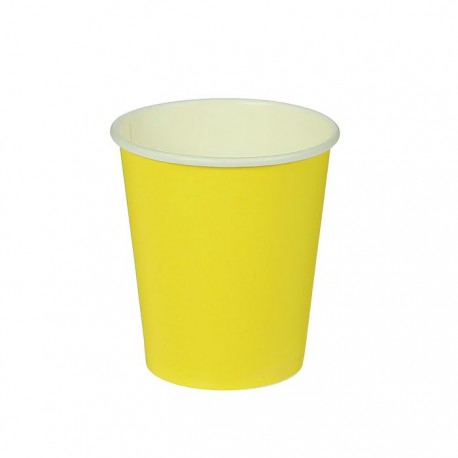 Стакан бумажный однотонный, желтый цвет (205 мл)