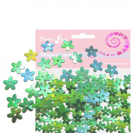 Q Конфетти перламутровое Цветы зеленые 14гр