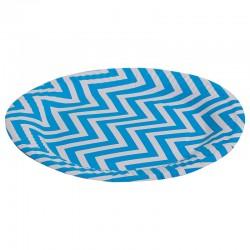 Тарелка, Голубые зигзаги, 7 дюймов, 6шт