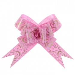 """Бант-бабочка №5 """"Золотое сердце"""" на розовом"""