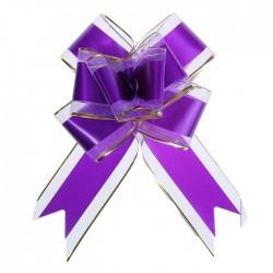 Бант-бабочка №7 органза с полосой пластик, фиолетовый