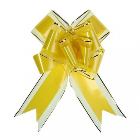 Бант-бабочка №7 органза с полосой пластик, жёлтый 1020434