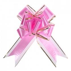 Бант-бабочка №7 органза с полосой пластик, розовый