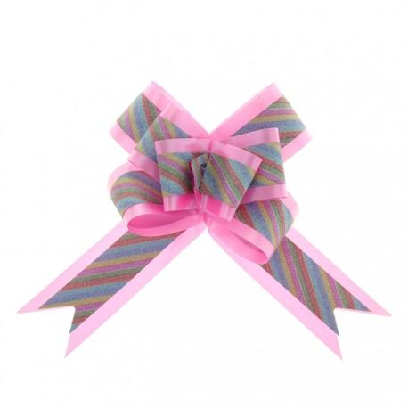 Бант-бабочка №5 с радужной полосой, розовый