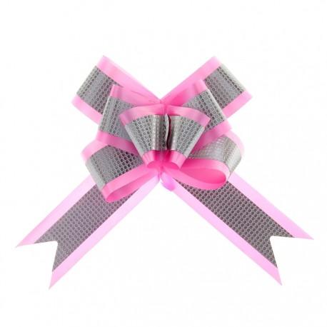 Бант-бабочка №5 с полосой, розовый