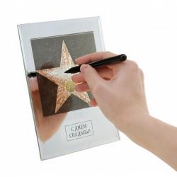 Диплом звезда стекло с днём свадьбы зеркальная рамка 15*20 см