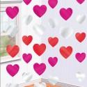 Гирлянда вертикальная разноцветные Сердца 210см 6шт