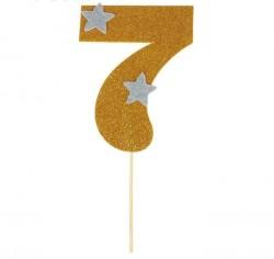 """Топпер для торта """"7"""", цвет золотой 1502906"""
