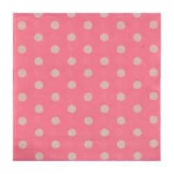 """Салфетки бумажные 25*25 """"Горох"""" розовый цвет (набор 20 шт)"""
