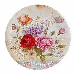 Набор тарелок Нежные розы с короной 18см 6шт