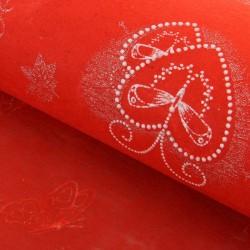 """Флизелин с серебряным рисунком """"Сердца с бабочками"""" красный 60 см х 60 см 826579"""