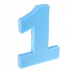 "Цифра ""1"" (поролон) 40 см неон Голубая"