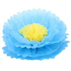 Бумажный цветок 40 см синий+желтый