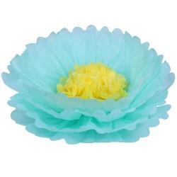Бумажный цветок 40 см мятный+желтый