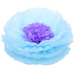 Бумажный цветок 40 см голубой+светло-сиреневый