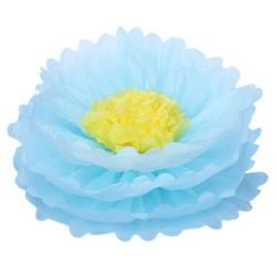 Бумажный цветок 40 см голубой+желтый