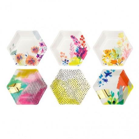 Тарелка бум. шестигранные люминесцентные Цветочные (12 шт)