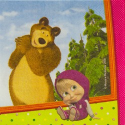 Салфетка Маша и Медведь 33см 12шт/G (4690390153682)