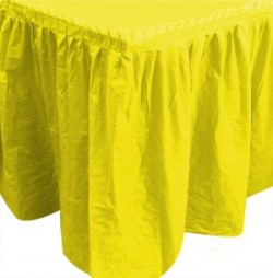 Юбка для стола желтая Делюкс 0,75х4м